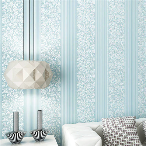 Blooming Blue Floral Scroll Wallpaper WP145