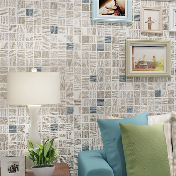 Modern Mosaic Flocking Wall Paper WP224