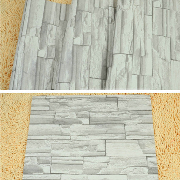 Stacked Brick Stone Faux Realistic Wallpaper WP33