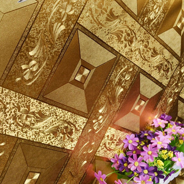 Golden Big Square Lattice Gold Foil Wallpaper WP58