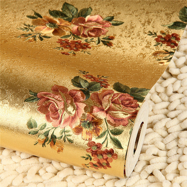 Luxury Retro Red Rose flower Gold Foil Wallpaper WP76