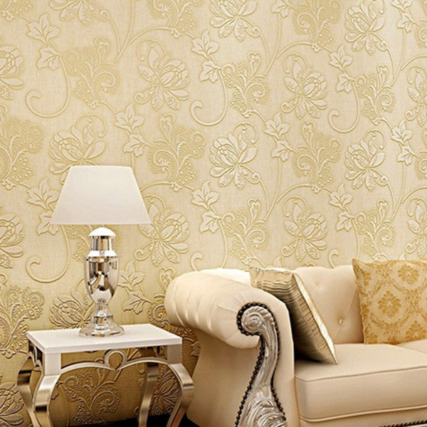 floral pattern flocking 3D non-woven wallpaper WP77