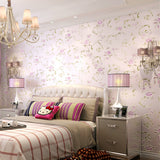 Romantic Victoria Country Pink Flower Floral Teal Wallpaper WP78