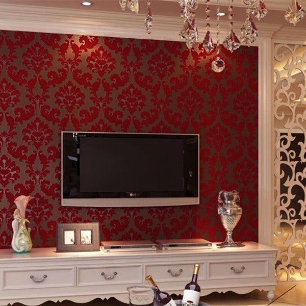 Vintage Non Woven Flocking Modern Romantic Wallpaper WP86