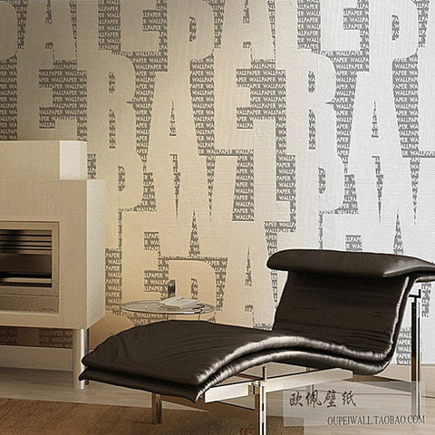 Black Letters on White Vinyl Wallpaper WP141
