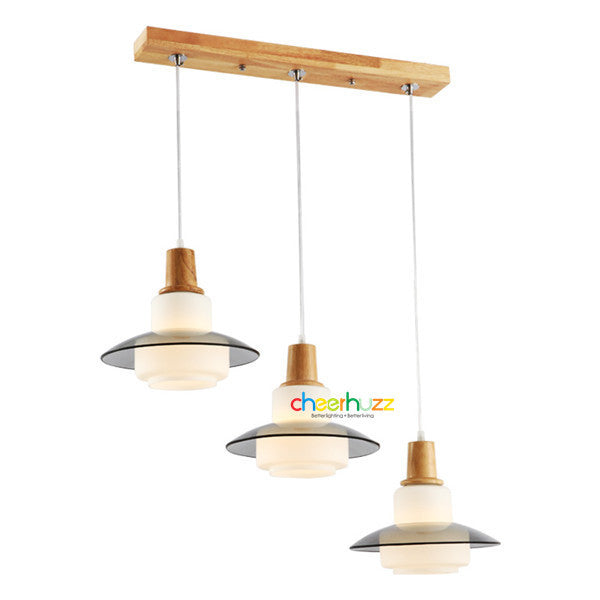 Wooden Glass Pendant Lamp PL365