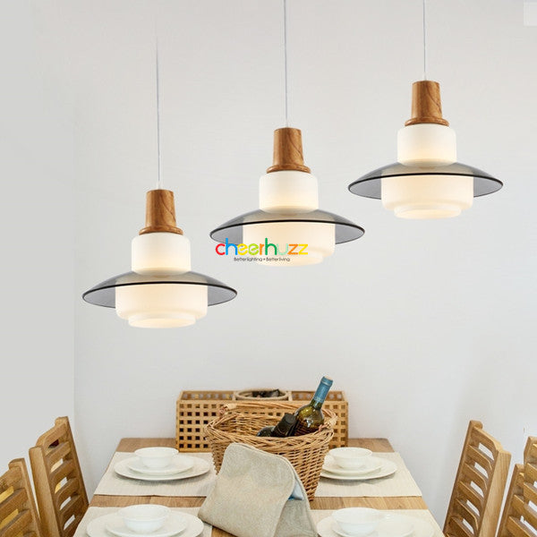 Wooden Glass Pendant Lamp PL365 - Cheerhuzz