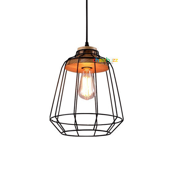Industrial Metal Cage Wooden Lamp PL416