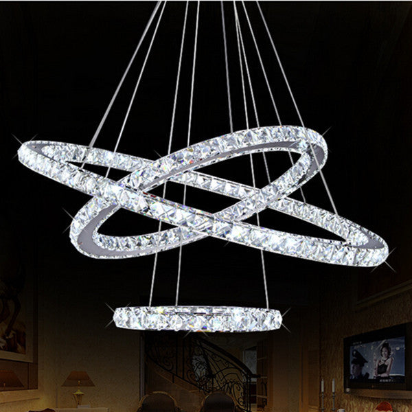 The LED Circle Suspension Crystal Pendant Light 3 Rings
