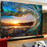 3D Waves Sea Sunset Wallpaper WP201