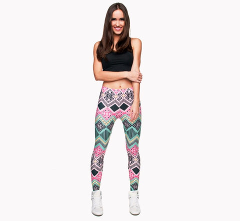 Full length womens/girls 3D full print leggings ****aztec pink****