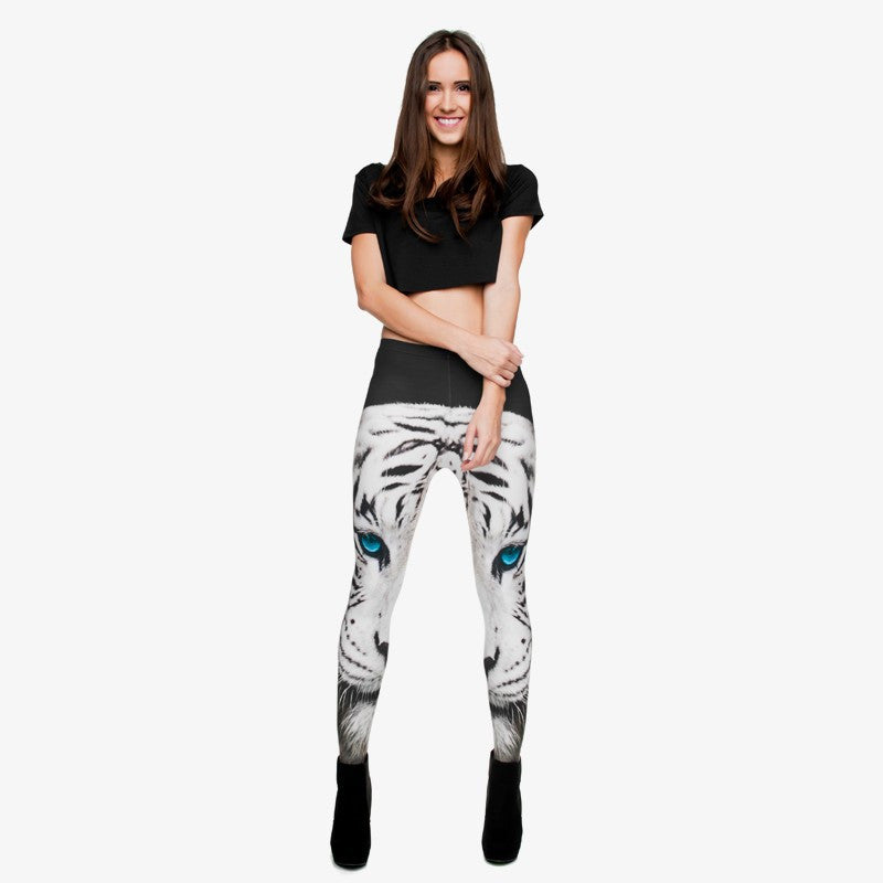 Full length womens/girls 3D full print leggings ****white tiger****
