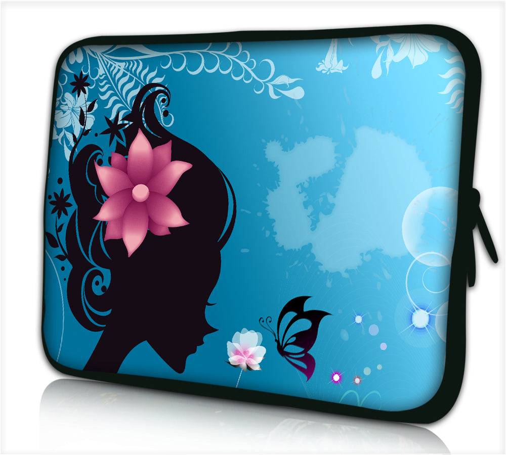 "17""- 17.3"" (inch) LAPTOP SLEEVE CARRY CASE/BAG NEOPRENE FOR LAPTOPS/NOTEBOOKS, ZIPPED *flower head*"