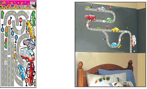 WALL STICKERS, BEDROOM WALL STICKERS, BEDROOM DECOR FOR BOYS & GIRLS ***CARS & ROAD***