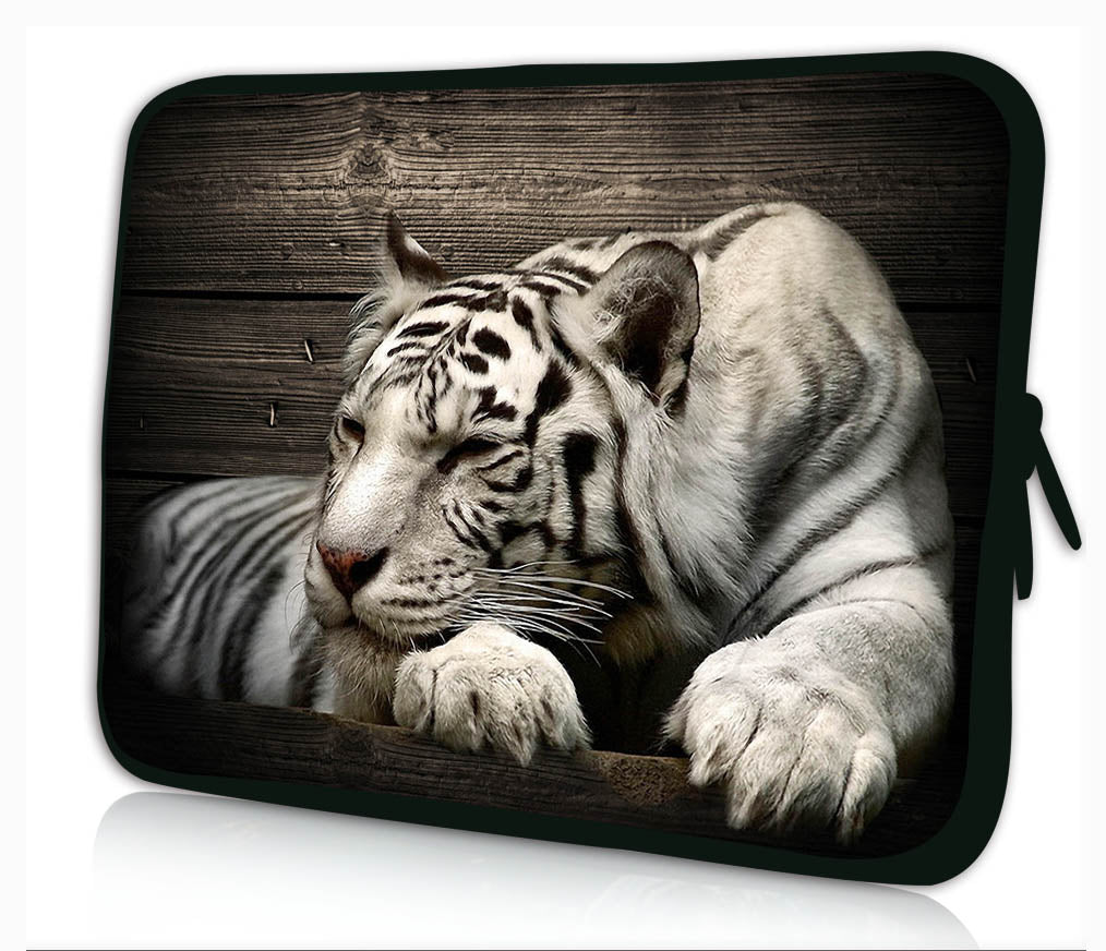 "15""- 15.6"" (inch) LAPTOP SLEEVE CARRY CASE/BAG NEOPRENE FOR LAPTOPS/NOTEBOOKS, ZIPPED *SLEEPING TIGER*"