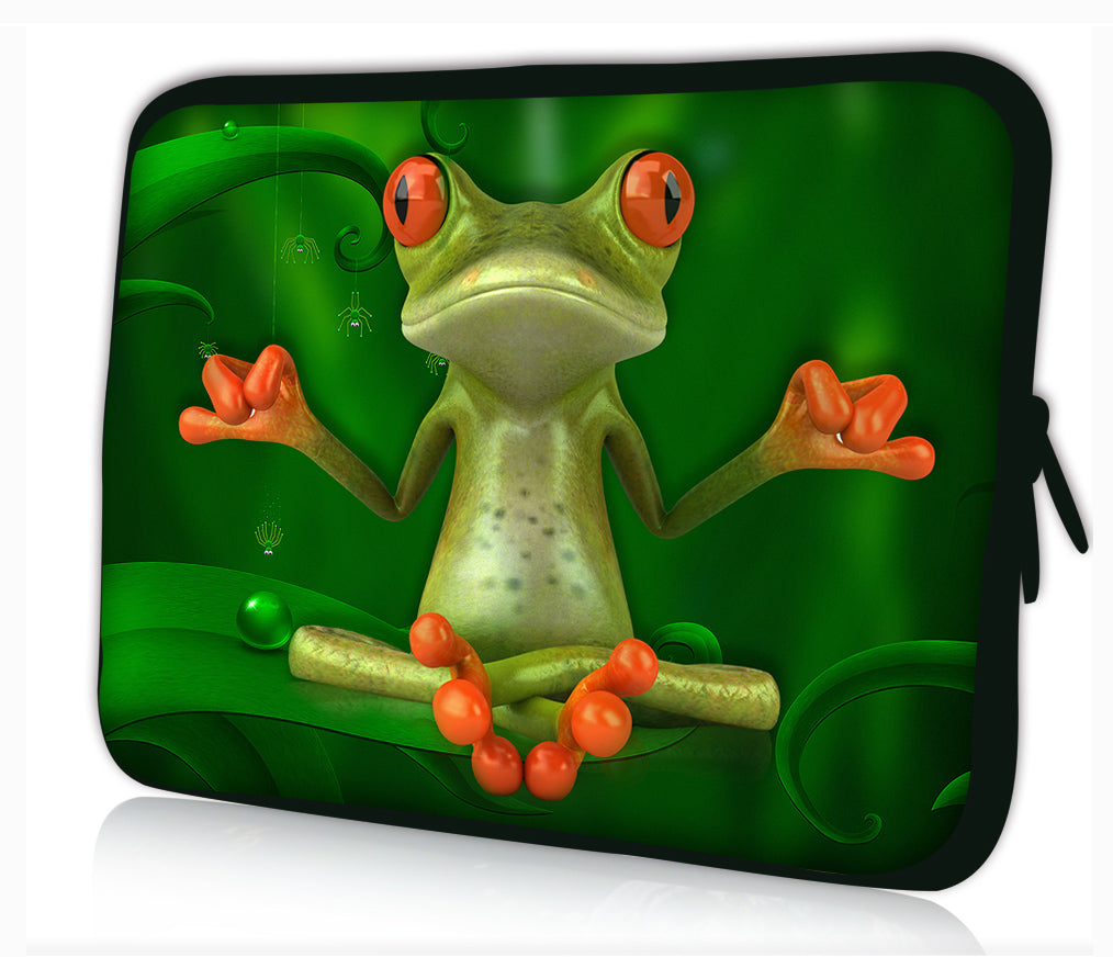 "17""- 17.3"" (inch) LAPTOP SLEEVE CARRY CASE/BAG NEOPRENE FOR LAPTOPS/NOTEBOOKS, ZIPPED *Yoga Frog*"