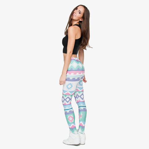 Full length womens/girls 3D full print leggings **** aztec green****