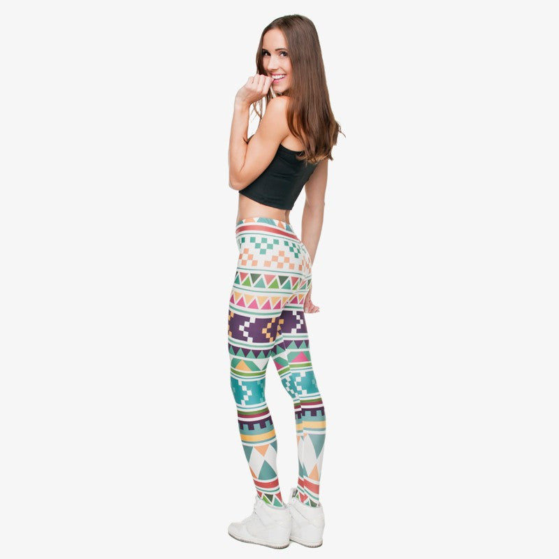 Full length womens/girls 3D full print leggings ****aztex marine****