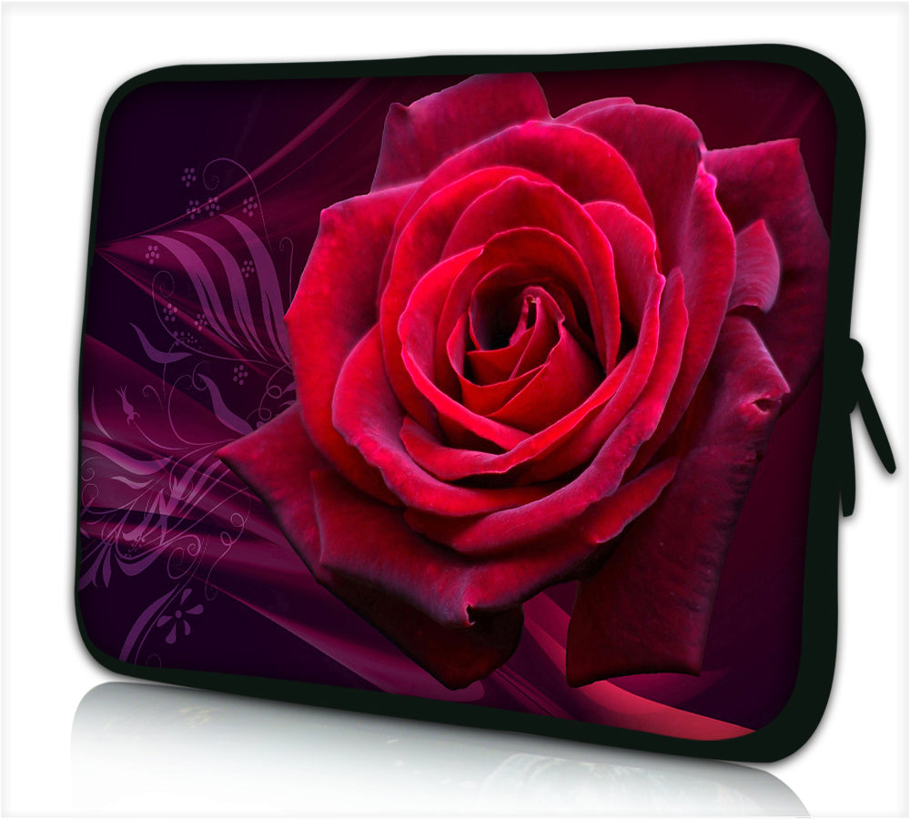 "17""- 17.3"" (inch) LAPTOP SLEEVE CARRY CASE/BAG NEOPRENE FOR LAPTOPS/NOTEBOOKS, ZIPPED *Rose 2*"