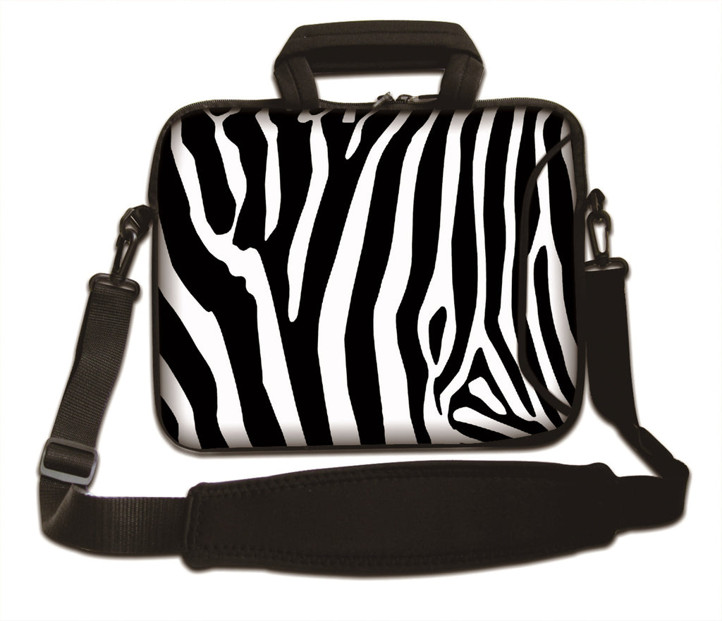 "15""- 15.6"" (inch) LAPTOP BAG CARRY CASE/BAG WITH HANDLE & STRAP NEOPRENE FOR LAPTOPS/NOTEBOOKS, *ZEBRA*"