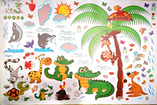 Funky Planet Cartoon Large Wall Stickers Removable Wall Decals Home Decor PVC Art Mural Baby Boys Girls Kids Bedroom Decoration Wall Sticker (Crocodiles)