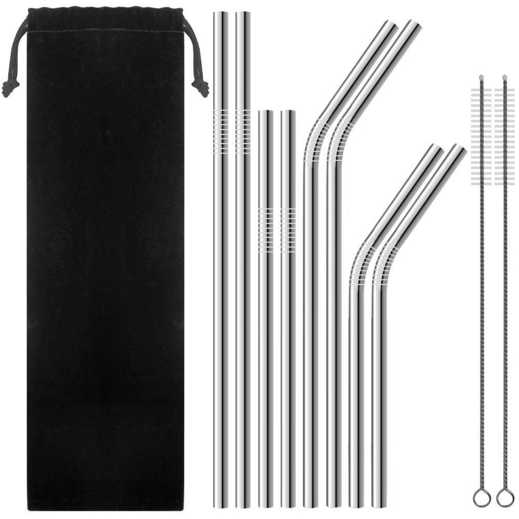 FUNKY PLANET Metal Straw Stainless Steel Straws Drinking Reusable Straws + Extra Long Cleaning Brushes (8 x straws)