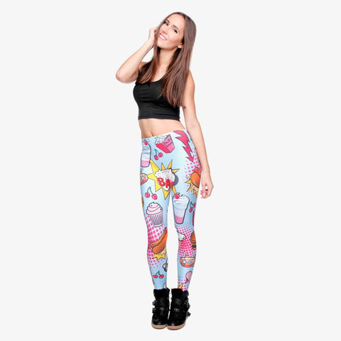 Full length womens/girls 3D full print leggings ****fast food comics****