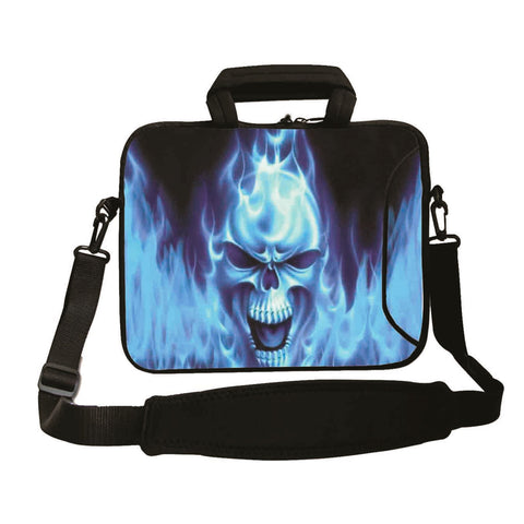 "17""- 17.3"" (inch) LAPTOP BAG/CASE WITH HANDLE & STRAP, NEOPRENE MADE FOR LAPTOPS/NOTEBOOKS, ZIPPED*BLUE FIRE*"