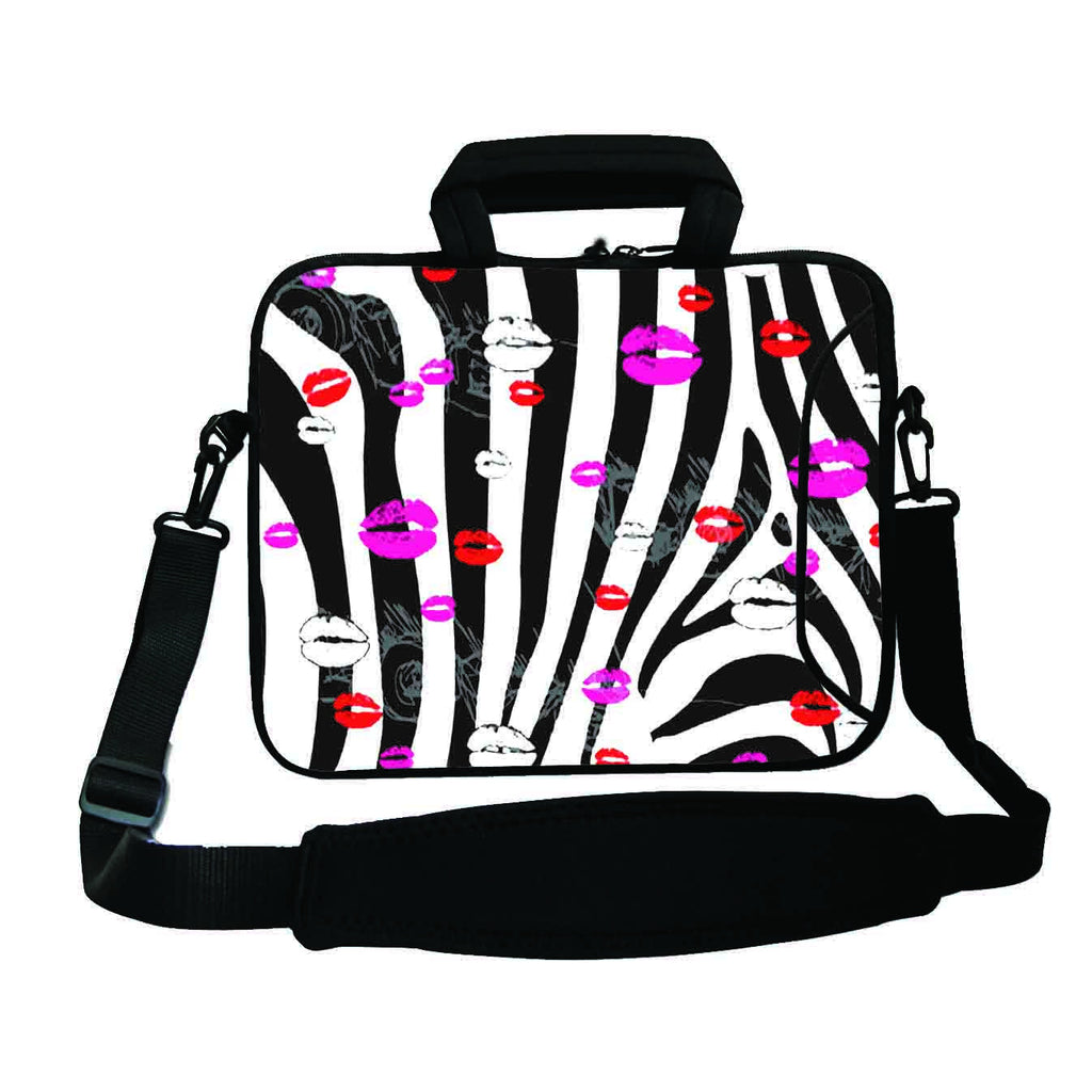 "17""- 17.3"" (inch) LAPTOP BAG/CASE WITH HANDLE & STRAP, NEOPRENE MADE FOR LAPTOPS/NOTEBOOKS, ZIPPED*ZEBRA LIPS*"