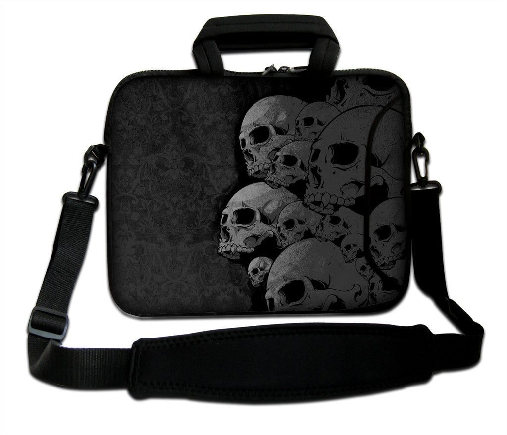 "15""- 15.6"" (inch) LAPTOP BAG CARRY CASE/BAG WITH HANDLE & STRAP NEOPRENE FOR LAPTOPS/NOTEBOOKS, *SKULL COLLECTION*"