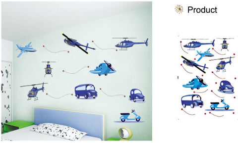 WALL STICKERS, BEDROOM WALL STICKERS, BEDROOM DECOR FOR BOYS & GIRLS ***PLANES BLUE***