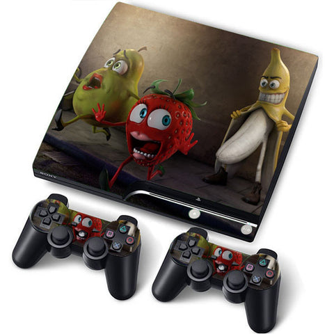 PS3 Slim PlayStation 3 Slim Skin/Stickers PVC for Console + 2 Controllers/Pads Decal Protector Cover ***Banana***