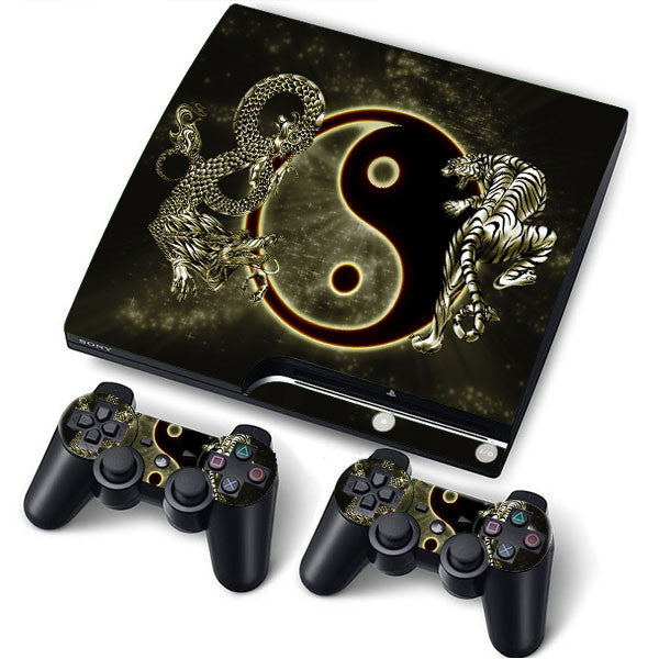 PS3 Slim PlayStation 3 Slim Skin/Stickers PVC for Console + 2 Controllers/Pads Decal Protector Cover ***Yin Yang***