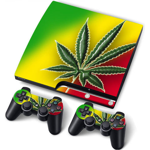 PS3 Slim PlayStation 3 Slim Skin/Stickers PVC for Console + 2 Controllers/Pads Decal Protector Cover ***Cannabis***
