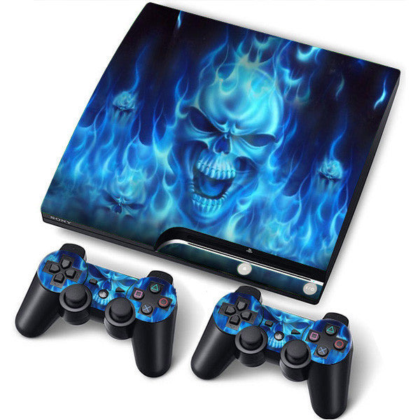 PS3 Slim PlayStation 3 Slim Skin/Stickers PVC for Console + 2 Controllers/Pads Decal Protector Cover ***Blue Fire***