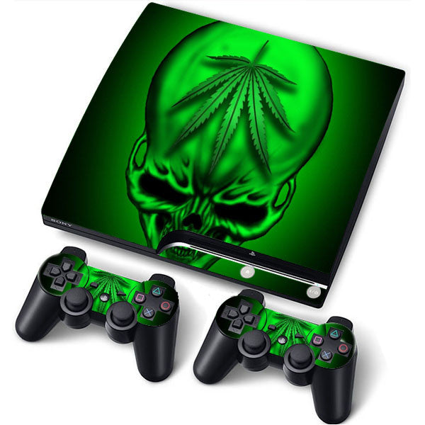 PS3 Slim PlayStation 3 Slim Skin/Stickers PVC for Console + 2 Controllers/Pads Decal Protector Cover ***Green Skull***