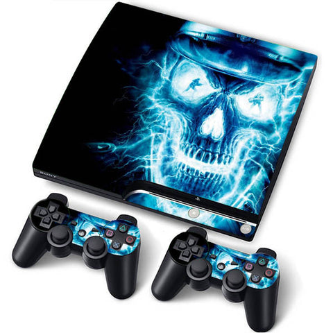 PS3 Slim PlayStation 3 Slim Skin/Stickers PVC for Console + 2 Controllers/Pads Decal Protector Cover ***Electro Skull***