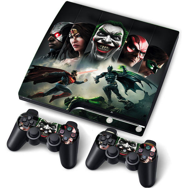 PS3 Slim PlayStation 3 Slim Skin/Stickers PVC for Console + 2 Controllers/Pads Decal Protector Cover *** Joker***
