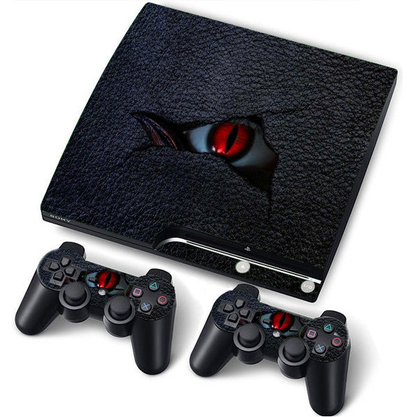 PS3 Slim PlayStation 3 Slim Skin/Stickers PVC for Console + 2 Controllers/Pads Decal Protector Cover ***EYE***