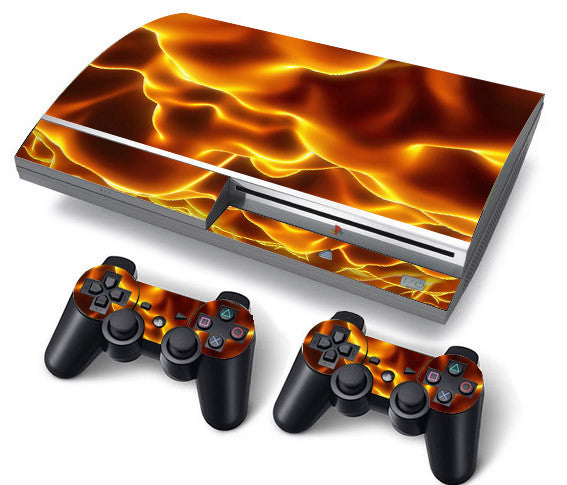 PS3 FAT PlayStation 3 ORIGINAL Skin/Stickers PVC for Console + 2 Controllers/Pads Decal Protector Cover ***Flame***