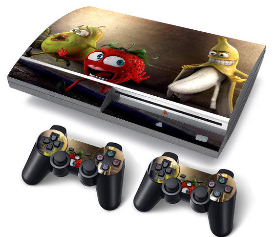PS3 FAT PlayStation 3 ORIGINAL Skin/Stickers PVC for Console + 2 Controllers/Pads Decal Protector Cover ***Banana***