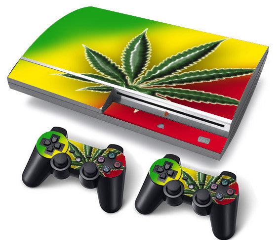 PS3 FAT PlayStation 3 ORIGINAL Skin/Stickers PVC for Console + 2 Controllers/Pads Decal Protector Cover ***Cannabis***