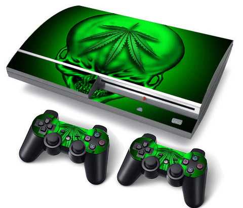 PS3 FAT PlayStation 3 ORIGINAL Skin/Stickers PVC for Console + 2 Controllers/Pads Decal Protector Cover ***Green Skull***