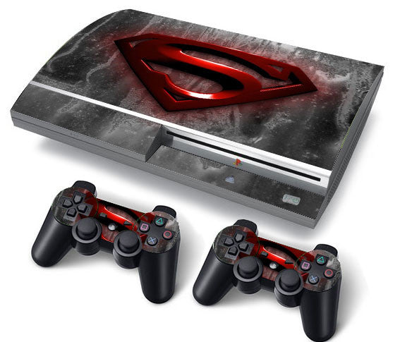 PS3 FAT PlayStation 3 ORIGINAL Skin/Stickers PVC for Console + 2 Controllers/Pads Decal Protector Cover ***Red Superman***