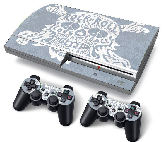 PS3 FAT PlayStation 3 ORIGINAL Skin/Stickers PVC for Console + 2 Controllers/Pads Decal Protector Cover ***ROCK&ROLL***