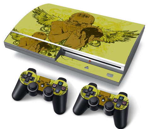 PS3 FAT PlayStation 3 ORIGINAL Skin/Stickers PVC for Console + 2 Controllers/Pads Decal Protector Cover ***DARK ANGEL***