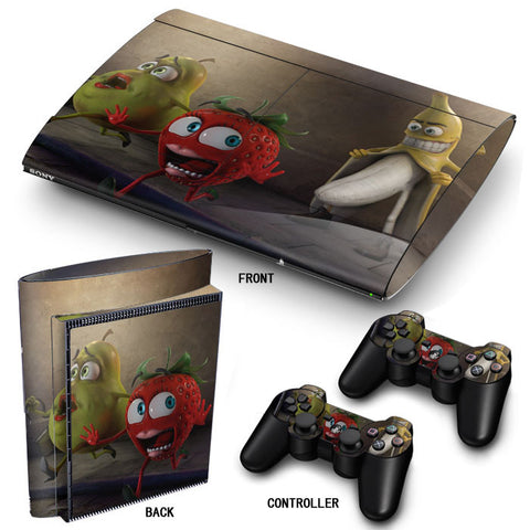 PS3 Super Slim PlayStation 3 SuperSlim Skin/Stickers PVC for Console & 2 Controllers/Pads Decal Protector Cover ***Banana***
