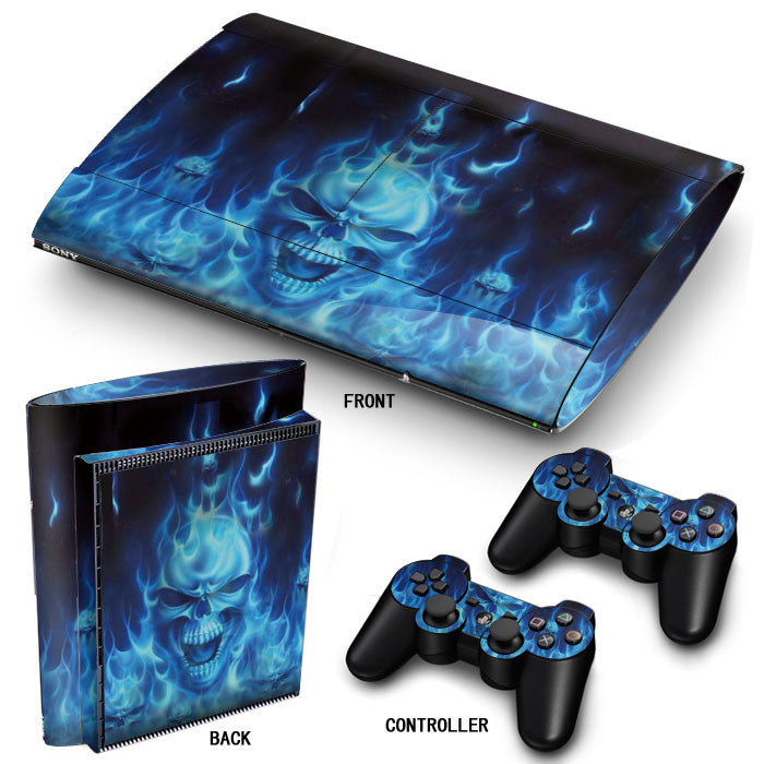 PS3 Super Slim PlayStation 3 SuperSlim Skin/Stickers PVC for Console & 2 Controllers/Pads Decal Protector Cover ***Blue Fire***