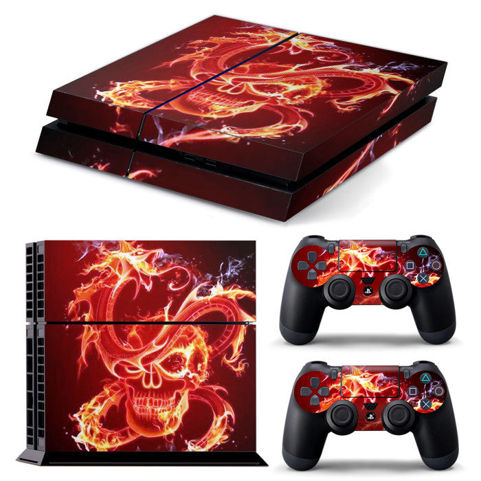 PS4 FULL BODY Accessory Wrap Sticker Skin Cover Decal for PS4 Playstation 4, ***Dragon Fire Skull***