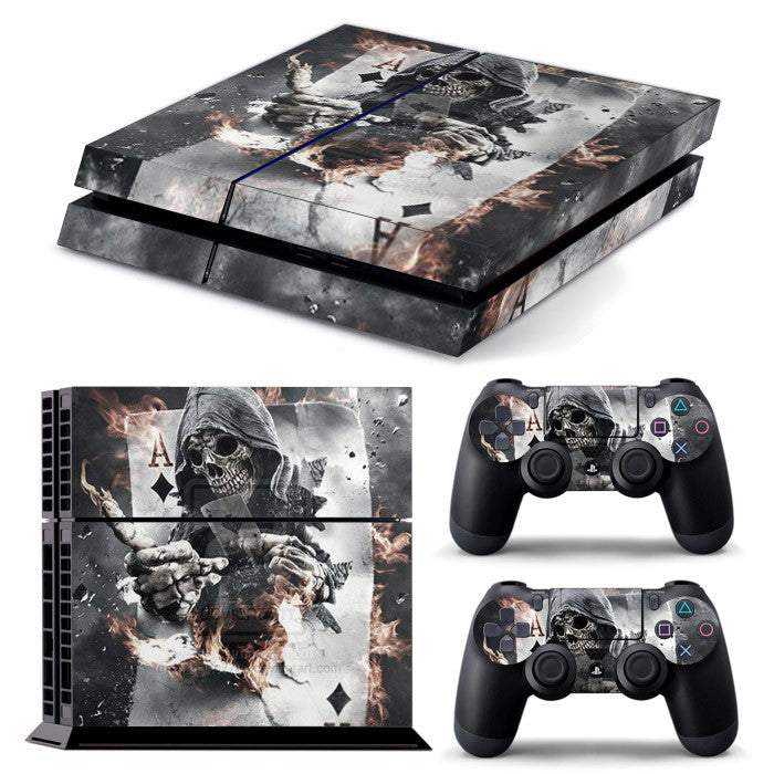 PS4 FULL BODY Accessory Wrap Sticker Skin Cover Decal for PS4 Playstation 4, ***Card Skull***